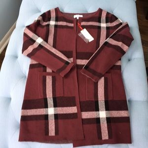 NWT open cardi plaid sweater jacket with pockets